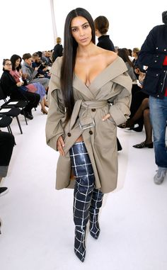 """Sans Makeup and Pants from All the Kardashians' Paris Fashion Week Looks  The mom of two went without her traditional contour for the Balenciaga Fashion Show. """"Kind of feels good just to not spend all that time,"""" she told fans of her speedier beauty routine for the day."""