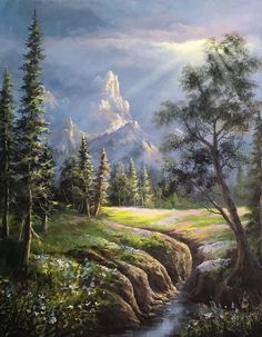 landscape oil painting with Kevin Hill. Learn techniques that can improve oil, acrylic and even watercolor paintings. Fantasy Art Landscapes, Landscape Drawings, Landscape Art, Beautiful Landscapes, Landscape Paintings, Landscape Photography, Art Drawings, Kevin Hill Paintings, Oil Painting Lessons