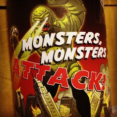 My young son's favourite wine label: Monsters, Monsters Attack! Wine Pics, Wine Label, Monsters, Video Game, Food And Drink, Artwork, Fun, Work Of Art