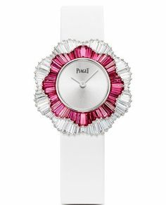 Piaget Rose Passion watch in 18k white gold case with pink sapphires and diamonds
