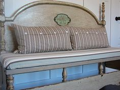 Another bench made from an old bed headboard and frame