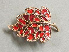 Florenza Enamel Mosaic Leaf Pin Brooch by COBAYLEY on Etsy,