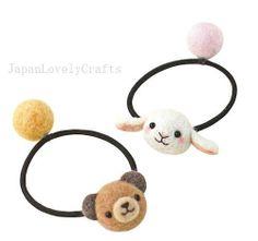 Japanese Needle Wool Felt Hair Accessory DIY Kit - Bear & Bunny Elastic Band - Satomi Fujita - Kawaii Accessories - Hamanaka - JapanLovelyCrafts