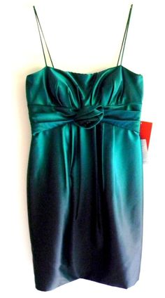 JS Collections Emerald Spaghetti Strap Cocktail Dress Lined Size 8  #JSCollections #TeaDress #Cocktail
