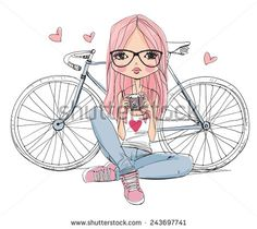 girl with a camera and bicycle