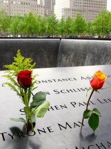 Roses of remembrance. Ground Zero Memorial, NYC.