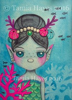 """Sea Nymph"" © Tamia Hayes 2016  5x7in watercolor/gouache painting  #tamia #chicasol #seanymph #sea #ocean #mermaid,#nymph #fantasy #watercolor #painting #watercolorpainting #coral #pearls #seaurchin #originalart #originalwatercolor"