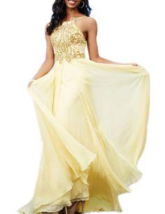 LovingDress Women's Prom Dresses Chiffon with Straps Beaded Bodice Evening Dress
