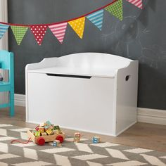 Baúl Austin de KidKraft para almacenaje de juguetes y decoración de habitaciones de niños y niñas. Fabricado en madera y disponible en tres colores.