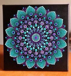 Vibrant Dot Mandala on stretched canvas 8 x 8 Mandala Art, Mandala Design, Mandala Canvas, Mandala Drawing, Mandala Painting, Mandala Painted Rocks, Mandala Rocks, Dot Art Painting, Stone Painting