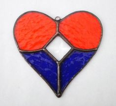 Blue and Orange Stained Glass Heart with Cut Glass Bevel GATORS