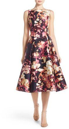 Adrianna Papell Floral Print Mikado Midi Dress