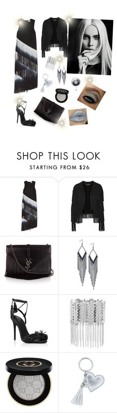 """""""Untitled #157"""" by gabbylara ❤ liked on Polyvore featuring Haute Hippie, Tom Ford, Yves Saint Laurent, GUESS, Aquazzura, Steve Madden, Gucci and Iphoria"""