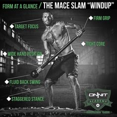Form at a Glance: Steel Mace Slam Windup #workout #crossfit #strength from Onnit. Fit Board Workouts, Workout Gear, At Home Workouts, Yoga Workouts, Workout Outfits, Workout Tanks, Sledgehammer Workout, Indian Clubs, Dynamic Stretching