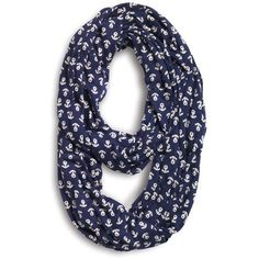 Sperry Top-Sider Anchor Infinity Scarf ($30) ❤ liked on Polyvore featuring accessories, scarves, accessories - scarves, blue, blue infinity scarf, jersey infinity scarf, circle scarf, cotton infinity scarf and infinity scarf