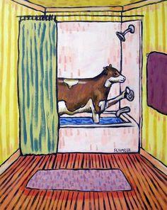 CHICKEN  art PRINT farm animals 11x14 impressionism bathroom gift