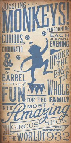 Circus Monkey vintage style childrens graphic by geministudio