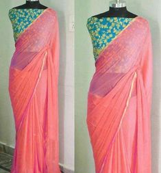 15 Stunning Collection of Plain Sarees With Designer Blouse Designs The designer blouses with the plain sarees is a weird but really smart and popular combination. Here are the best 15 plain sarees with designer blouse that can looks simple and smart. Simple Sarees, Trendy Sarees, Stylish Sarees, Fancy Sarees, Party Wear Sarees, Plain Saree With Heavy Blouse, Plain Chiffon Saree, Saree Blouse Patterns, Saree Blouse Designs
