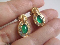 vintage earrings christmas gift emerald green stone rhinestones 1990 birthday gift for her vintage jewelry vintage earrings lasoffittadiste