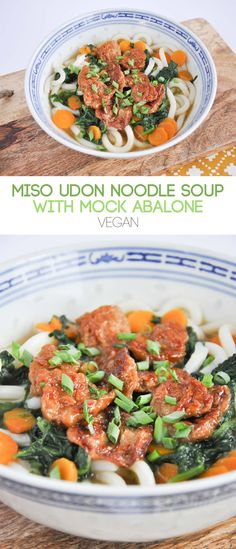 Vegan Miso Udon Noodle Soup with Mock Abalone | ElephantasticVegan.com