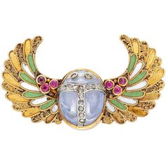 Egyptian Revival Enamel Sapphire Ruby Gold Scarab Brooch For Sale