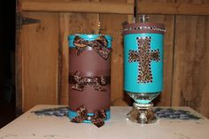 Cheyenne J, made these headband holders...the brown one is a oatmeal box painted and ribbon added... the blue one is a wood box from hobby lobby glued on top of a glass candle stick holder and a glass knob added on top