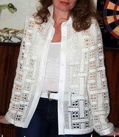 Letras E Artes Da Blusas De Autores - Diy Crafts - Hadido - Diy Crafts Filet Crochet, Beau Crochet, Pull Crochet, Mode Crochet, Freeform Crochet, Crochet Baby, Cardigan Au Crochet, Crochet Coat, Crochet Jacket