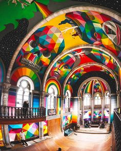 A historic church in the Spanish city of llanera was transformed into a skate-park earlier this year by La Iglesia Skate; titled Kaos Temple, it has now undergone a second, more colorful transformation at the hands of street-artist Okuda San Miguel. Street Art News, Street Artists, Red Bull, Arkansas, Transformers, Geometric Artwork, Okuda, Sistine Chapel, Skate Park