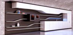 Corporate Interior Design, Corporate Interiors, Kitchen Decor, Kitchen Design, Kitchen Ideas, Kitchen Inspiration, Custom Desk, Futuristic Interior, Zaha Hadid