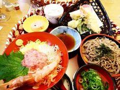 A gorgeous platter at the #Japanese family #restaurant cost only... japanese restaurant tempura tuna shrimp soba cake Tempura, Platter, Tuna, Shrimp, Restaurant, Japanese, Foods, Cake, Food Food