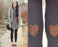 Not only do I want heart shaped knee patches on my leggings, but I want this girl's whole outfit.