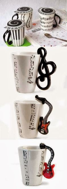 The one's with the note/treble clef handles! The one's with the note/treble clef handles! Coffee Love, Coffee Cups, Coffee Coffee, Drink Coffee, Happy Coffee, Foto Poster, Music Decor, Treble Clef, Music Stuff