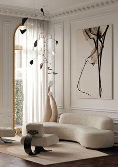 Lamp Design, Sofa Design, Decoration, Art Decor, Home Decor, Interior Design Living Room, Living Room Decor, Famous Interior Designers, Curved Sofa