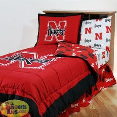 College Covers Nebraska Cornhuskers Bed-in-a-Bag w/White Sheet Set