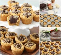 Fudge Peanut Butter Cookie Cups are peanut butter cookies baked in a mini muffin pan and filled with a simple chocolate fudge! Delicious flavor combination in these amazing treats. Cookie Cups, Cookie Desserts, Just Desserts, Cookie Recipes, Dessert Recipes, Fudge Recipes, Candy Recipes, Yummy Recipes, Recipies
