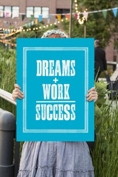 Dreams + Work = Success Print by TheMotivatedType, Motivational Quotes, Wall Art Ideas, Typography Print, Wood Type, Typographic Art Prints, Wall Art Decor, Posters for Sale, Inspirational Wall Art, Quote Posters, Ikea Wall Art www.motivatedtype.com