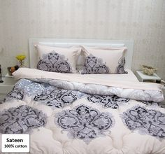 Cotton Comforter Sets Queen Size, Sateen Luxury Bedding Sets Queen Size 5 Pieces