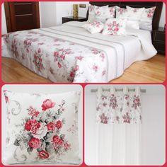Dekorační bílý set do ložnice ve stylu vintage s kyticí rudých květů - dumdekorace.cz