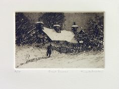 First Snow, etching and aquatint by Keith Andrew.