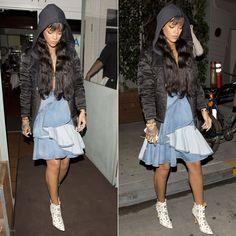 Rihanna wearing Etoile Isabel Marant quilted black jacket, Givenchy ruffled denim zip skirt, Manolo Blahnik Margolotta daisy ankle boots.