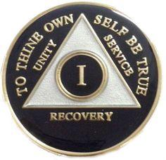 Doing It Sober - AA Black TriPlate Medallion 1 - 45 years!, $19.99 (http://www.doingitsober.com/aa-black-triplate-medallion-1-45-years/)
