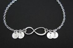 Infinity Bracelet. 4 Silver Initial by ABrilliantImpression, $34.00
