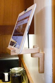 woodworking - Items similar to Solid Reclaimed Oak Kitchen iPad Stand and Wall Bracket Combo on Etsy Woodworking Business Ideas, Woodworking Shows, Woodworking Plans, Woodworking Patterns, Woodworking Beginner, Woodworking Chisels, Youtube Woodworking, Intarsia Woodworking, Woodworking Joints