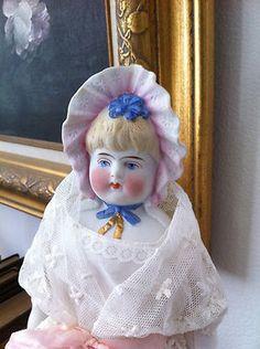 Antique Parian China Head Doll RARE Bonnet Version Doll | eBay
