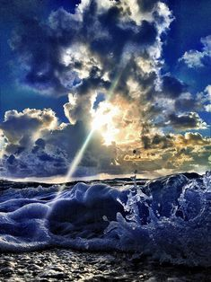 ♥ clouds, sun, waves
