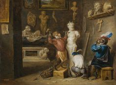 Teniers, David. El mono escultor. 23 cm x 32 cm. Hacia 1660