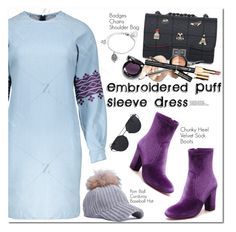 """""""Embroidered Puff Sleeve Dress"""" by oshint ❤ liked on Polyvore featuring Clarins"""