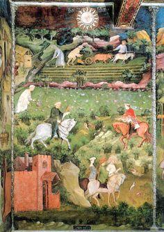 """""""Settembre"""", Ciclo dei Mesi, fresco of the Torre Aquila, Castello del Buonconsiglio, Trent, Italy, (ca. 1390-1400), by Maestro Venceslao"""