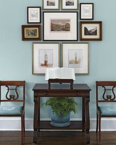 Historic robin's egg blue and a pair of antique lyre-back chairs in the lovely c1912 home of Dan and Deborah Raus.