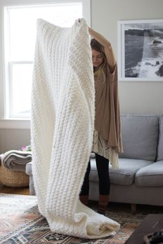 DIY: super chunky simple blanket